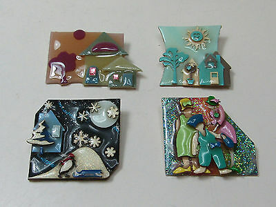 Lot Of Handmade Lucinda Yates Jewelry Pins Brooches Winter Summer House AS IS