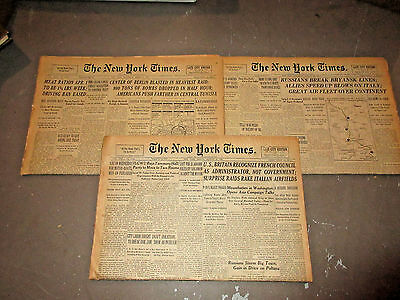 Lot Of 3 New York Times Complete Newspapers - Wwii Headlines  1943