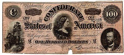 1864 Confederate States of America $100 Dollar Bill Civil War Currency Note!