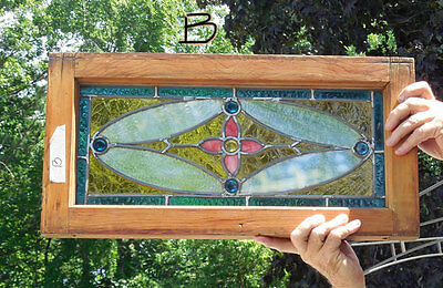 antique Victorian  American STAINED  Leaded  GLASS Window w/ JEWELS   *B*