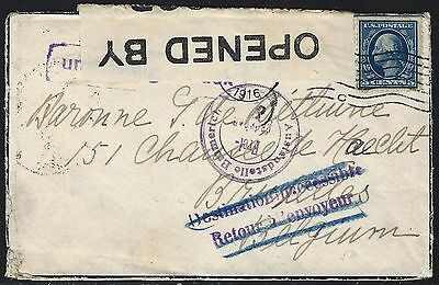 Us 1916 Mourning Cover German France And Great Britain Censors