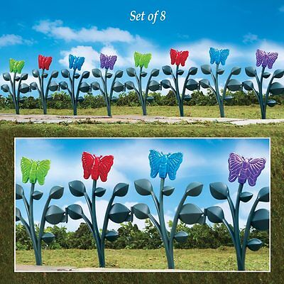 Set of 8 Colorful Butterfly Lawn Garden Border Stakes RED GREEN BLUE PURPLE
