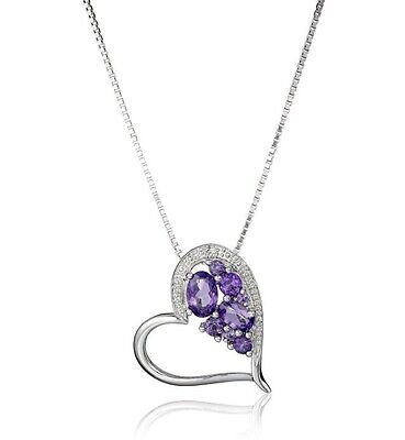 Sterling Silver Shades Of Amethyst And Diamond Accented Heart Pendant Necklace