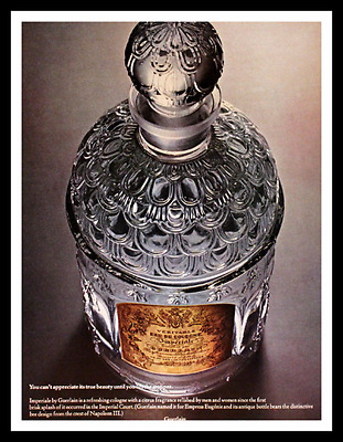 1968 Guerlain Imperiale Perfume Ad - Crystal Bottle - Paris - Advertising Page