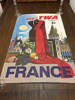 Vintage TWA France Travel Poster Lithograph
