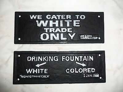 Lot Of 2 Cast Iron Segregation Sign Drinking Fountains & We Cater To White Trade