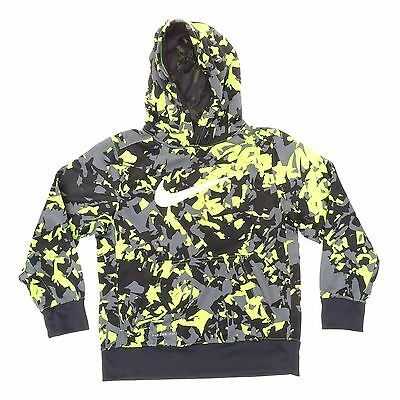 NIKE Teen kids Size M Black Green Hooded Therma Fit Sweater