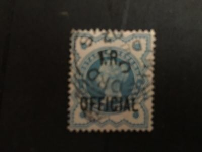 GB used stamp QV 1/2d blue (colour changeling) IR Official Fine used