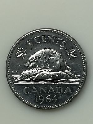 1964 Canadian Nickel, Five Cent Coin