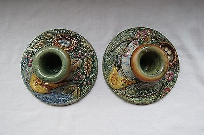 Weller Pottery Vintage 1920 Glendale Finches and Nest Candlesticks - Hugo Herb
