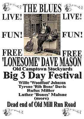 Lonesome Dave Mason~11'' X 17''~Blues Poster Vintage Guitar Singer Retro Music