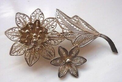Vintage Sterling Silver 925 Filigree Brooch - Weight 4.34g - Length 5cm