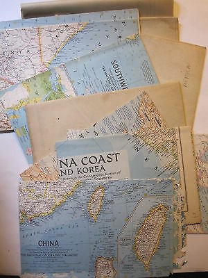 vintage National Geographic Maps -  4x 1930s & 6x 1950s