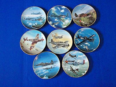 Hamilton GREAT PLANES OF WWII Plate Collection - Set of 8 - EUC