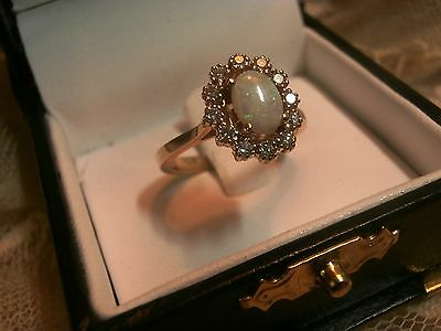 14K Yellow Gold Australian Opal And Diamond Ring - Size 7