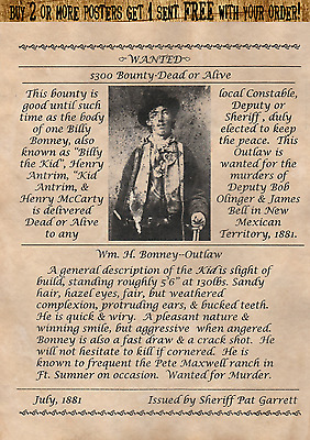 Billy The Kid~Garret Wanted Poster Outlaw New Mexico Bank Old West Western Law