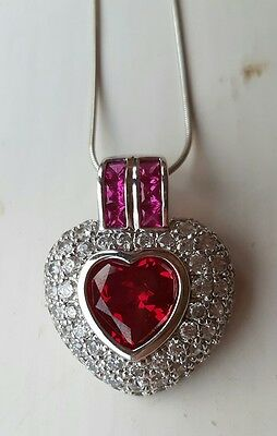 QVC Tova Sterling Silver Simulated Ruby and Crystal Diamonique Necklace