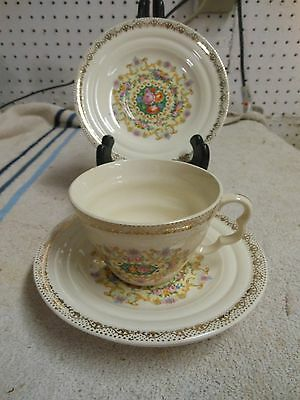 """Melody Ivory porcelain w/22K gold  by Sebring 3-5.75"""" plates 1-6 oz. cup"""