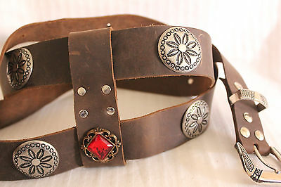 Brown Leather Double Wrap Concho Jeweled Sword Belt ,Bohemian Festival Western