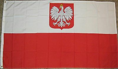 New 3' by 5' Polish Flag with Eagle and Crown. Free Shipping in Canada!