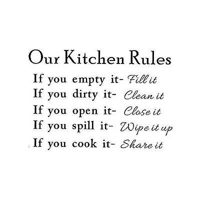 Removable Art DIY Wall Sticker Vinyl Mural Home Kitchen Rules Decal Decor New
