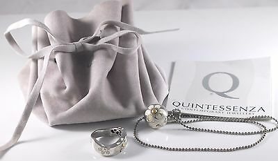 Quintessenza Italy Modern Jewelry Necklace Ring Set COA Flower Design Sterling