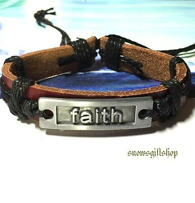 Men's Faith Theme New Age Fashion Leather Surfer Hip Hop Bracelet Wristband