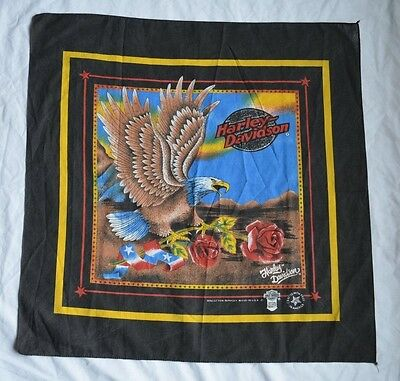Harley Davidson Authentic Vintage Eagle and Rose Bandana Scarf