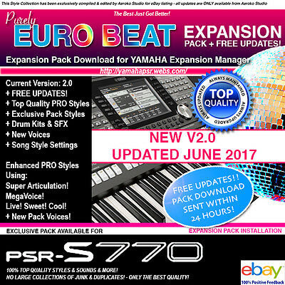 EURO-BEAT 2017 ED  Expansion Pack Pro styles + voices for PSR-S770 - The  BEST!