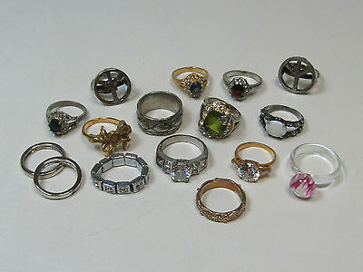 Costume Jewelry Ring Lot AS IS Gold Silver Tone White Red Green Pink Glass