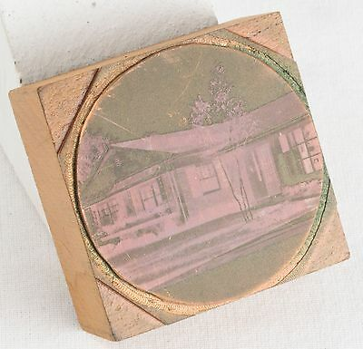 Vintage Copper PRINTING Plate On WOODEN Block HOUSE Front Yard HOME Photo PRESS