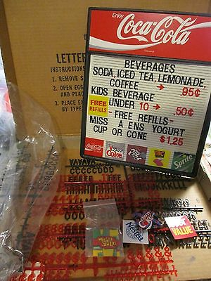 Coca Cola Menu Board With Letters, Numbers And Storage Box Coke Sign