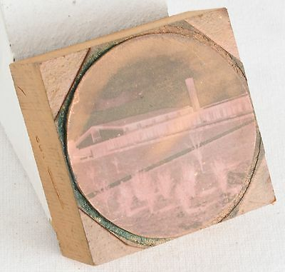 Vintage Copper PRINTING Plate On WOODEN Block HOUSE Farm CHURCH HOME Photo PRESS