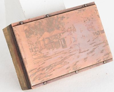 Vintage Copper PRINTING Plate On WOODEN Block HOUSE Back Yard HOME Photo PRESS