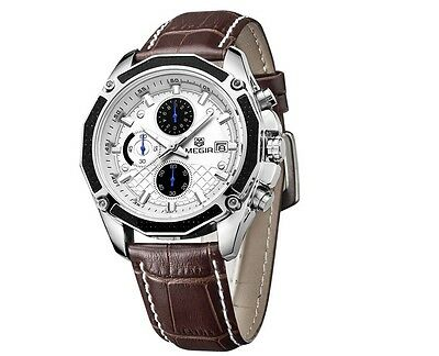 Men Watches Luxury Leather Quartz-watch Chronograph Luminous Men Wrist Watch