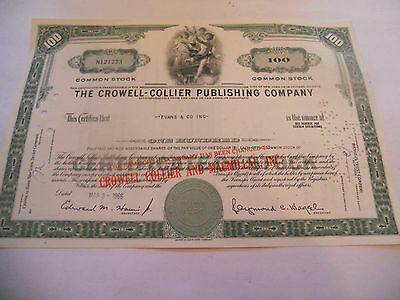 Old Stock Certificates 100 Shares The Crowell Collier Publishing Company Green C