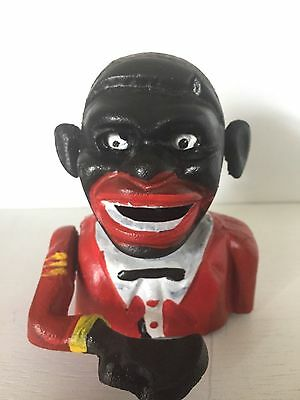 Cast Iron Mechanical Coin Bank ~ Black Man Americana ~ With Rolling Eyes & Ears