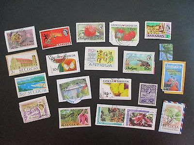 CARIBBEAN various COUNTRIES - POSTAGE STAMPS mint and used; on and off paper