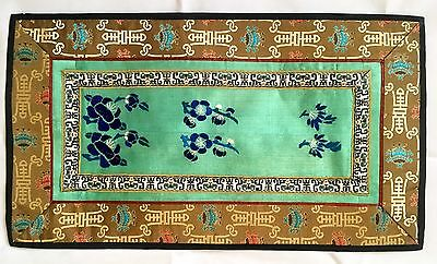 Fine Old Antique Chinese Chrysanthemum Textile Rectangle NR