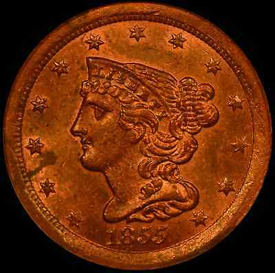 1855 1/2C Braided Hair Half Cent NGC MS64 RB CAC