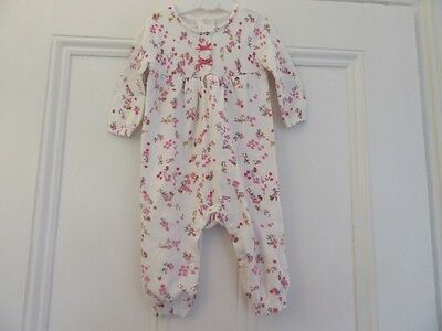 3-6m: Pretty knitted babygrow/ one-piece: Ivory + pink flowers: Mothercare