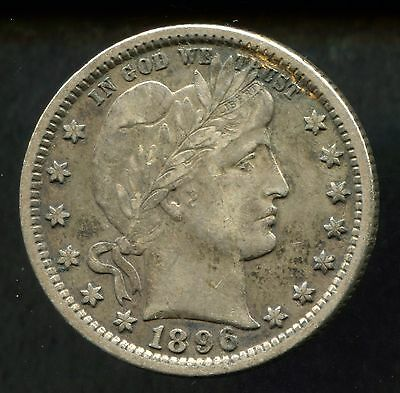 1896 25C Barber Quarter in XF Extra Fine Condition