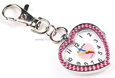 New Heart style Girls Ladies Childre gift Key Ring Chain watch quartz DK46
