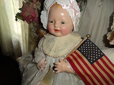 composition doll baby dimples 22 eih  horsman doll w/flag antique