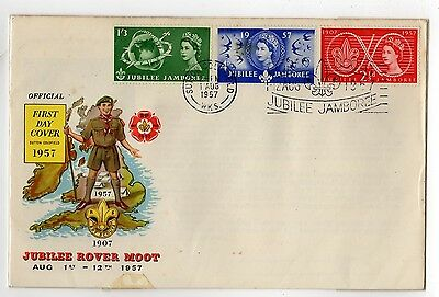 GB 1957: Scouts Jubilee Jamboree; Rover Moot FDC, Sutton Coldfield CDS + Slogan