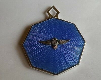 Superb Gieves Ltd 1930s RAF Badged Guilloche Enamel & White Metal Handbag Mirror
