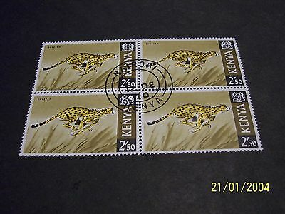 Kenya 1966 Cheetah used block of 4 fine-very fine!