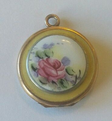 Antique Gold Filled Enamel Floral Locket Pendant
