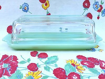 Vintage Fire King Jadite Jadeite Green Bottom & Clear Glass Lid Butter Dish