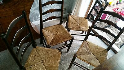 4 Antique Victorian Wooden Dining Chairs with Rush Rope Seat base